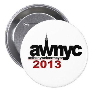 Alcalde 2013 de Anthony Weiner NYC Pin Redondo De 3 Pulgadas