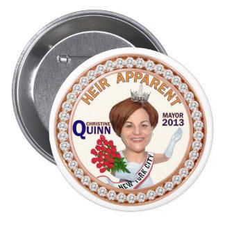 Alcalde 2013 de Christine Quinn NYC Pin Redondo De 3 Pulgadas