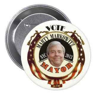 Alcalde 2013 de Marty Markowitz NYC Pin Redondo De 3 Pulgadas