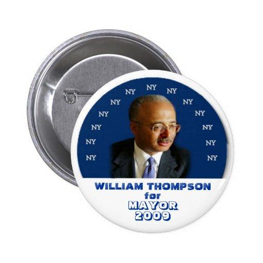 Alcalde Bill Thompson Pin de 2009 NY