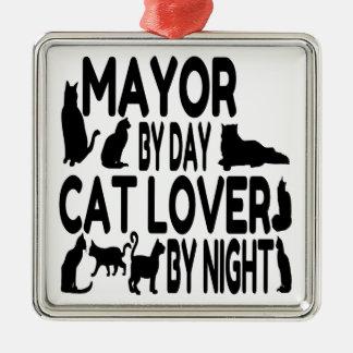 Alcalde del amante del gato adorno navideño cuadrado de metal
