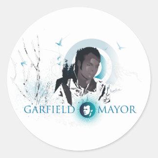 """Alcalde """"viaje"""" de Garfield (azul) Pegatinas Redondas"""