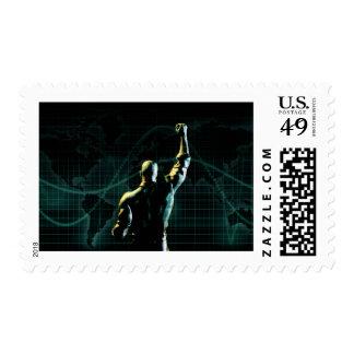 Alcance el éxito como fondo simbólico del concepto sello postal