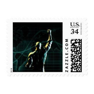 Alcance el éxito como fondo simbólico del concepto timbre postal