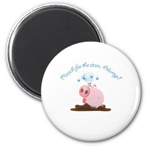 Alcance para el cerdo lindo de las estrellas/guarr iman de nevera