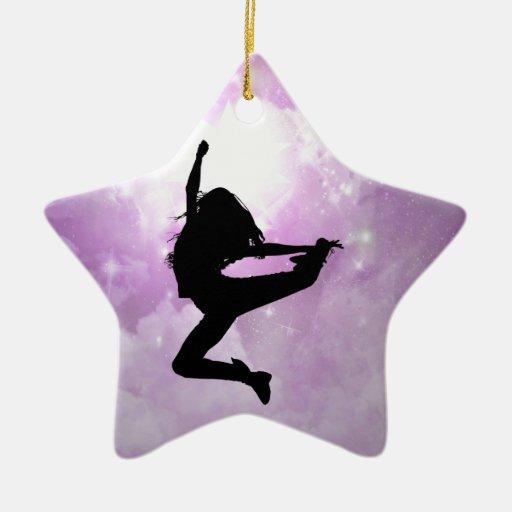 Alcance para las estrellas adorno navideño de cerámica en forma de estrella