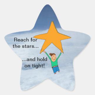 ¡Alcance para las estrellas y sosténgase encendido Calcomanía Forma De Estrella Personalizadas