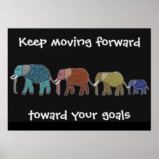 Alcance su poster de los elefantes de las metas