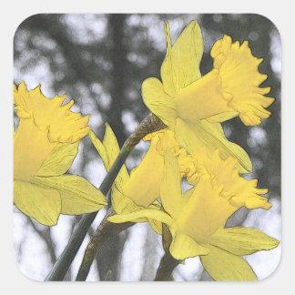 Alcanzar hacia arriba - narcisos amarillos etiquetas