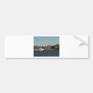 Alcatraz Island and a Lone Sailboat Bumper Stickers
