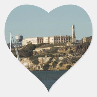 Alcatraz Island and a Lone Sailboat Heart Sticker