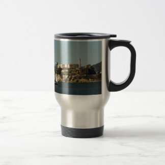 Alcatraz Island and a Lone Sailboat Travel Mug