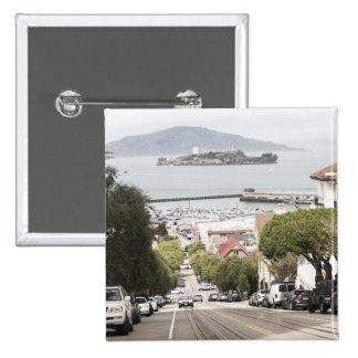Alcatraz prison viewed from San Francisco 2 Inch Square Button