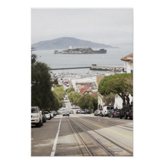 Alcatraz prison viewed from San Francisco Poster