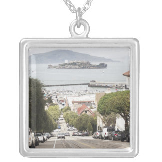 Alcatraz prison viewed from San Francisco Silver Plated Necklace
