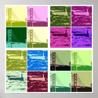 Alcatraz y poster del arte pop de puente Golden Ga