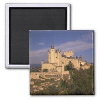 Alcazar and Cathedral, Segovia, Castile Leon, 2 Inch Square Magnet