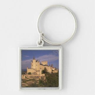 Alcazar and Cathedral, Segovia, Castile Leon, Silver-Colored Square Keychain