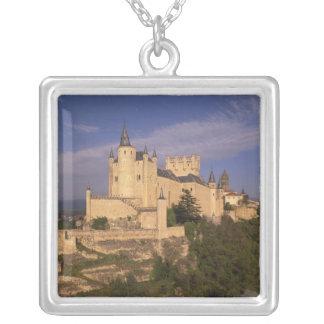 Alcazar and Cathedral, Segovia, Castile Leon, Square Pendant Necklace