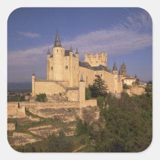 Alcazar and Cathedral, Segovia, Castile Leon, Square Sticker