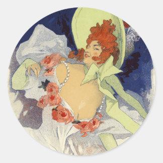 Alcazar d'Été Lidia, Jules Chéret Round Stickers