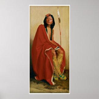 Alce-Pie de la tribu 1909 de Taos Póster