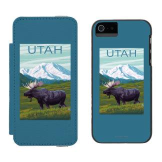 Alces con MountainUtah Funda Cartera Para iPhone 5 Watson