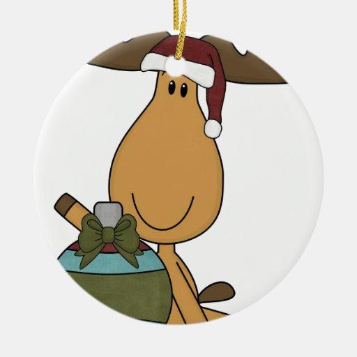 alces con navidad del sombrero de santa adorno redondo de cerámica