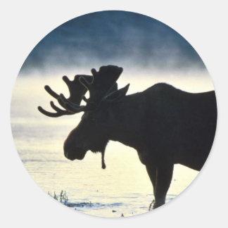 Alces de Bull Pegatina Redonda