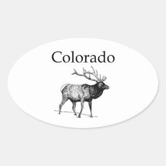 Alces de Colorado (línea arte) Pegatina Ovalada