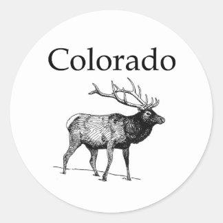Alces de Colorado (línea arte) Pegatina Redonda