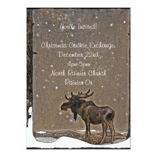 Alces de Holilday en nieve Invitación 13,9 X 19,0 Cm