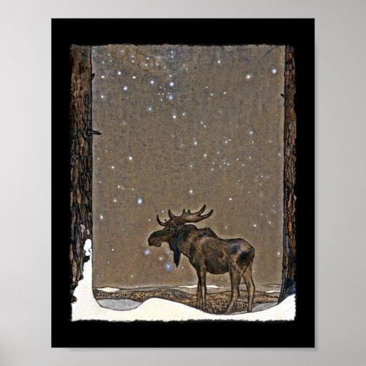Alces de Holilday en nieve Poster