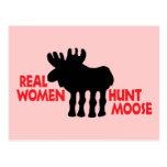 Alces de la caza de las mujeres reales postal