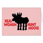 Alces de la caza de las mujeres reales tarjetas