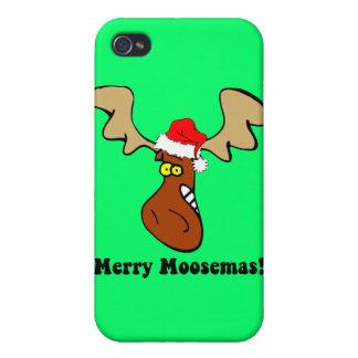 alces de las Felices Navidad iPhone 4 Cárcasa