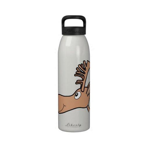 Alces de los alces del dibujo animado botella de beber