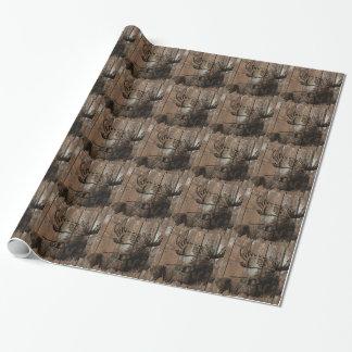 Alces de madera rústicos papel de regalo