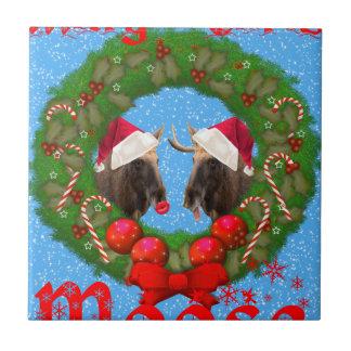 Alces de Maria Chris de las Felices Navidad Azulejo Cuadrado Pequeño