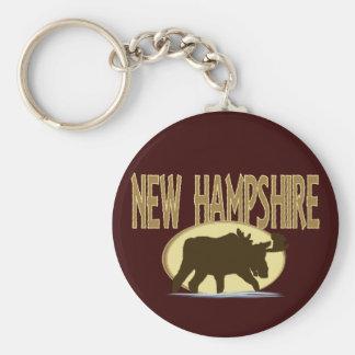 Alces de New Hampshire Llavero Redondo Tipo Pin