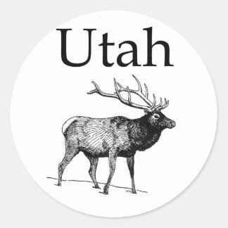 Alces de Utah (línea arte) Pegatina Redonda