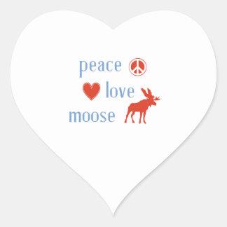 Alces del amor de la paz pegatina en forma de corazón