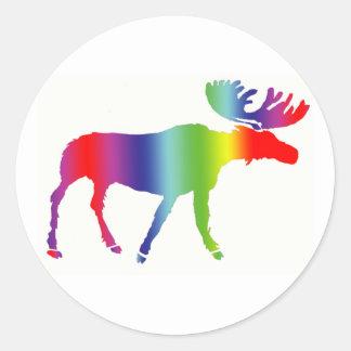 Alces del arco iris pegatina redonda