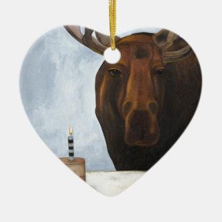 Alces del chocolate adorno navideño de cerámica en forma de corazón