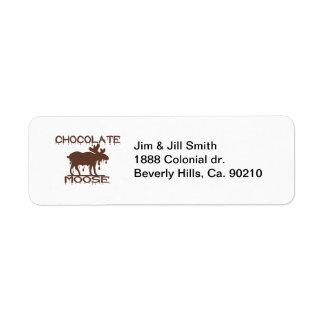 Alces del chocolate etiquetas de remite