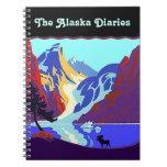 Alces del diario del viaje de Alaska del vintage d Cuaderno