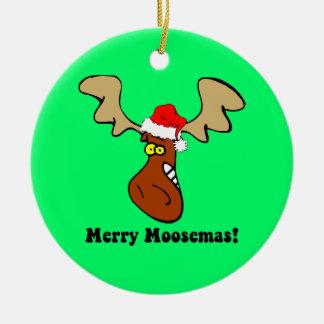 Alces del navidad adorno navideño redondo de cerámica