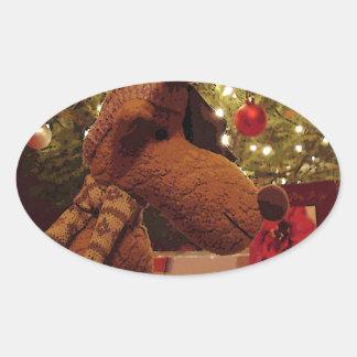 Alces del navidad colcomanias óval