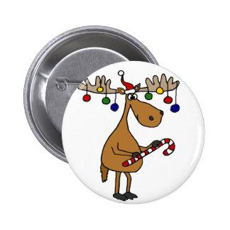 Alces del navidad de la diversión con el bastón y pin redondo de 2 pulgadas