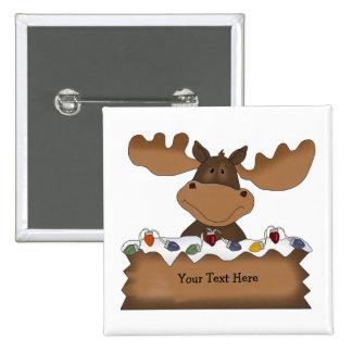 Alces del navidad (personalizable) pin cuadrado